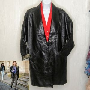 🔖Vtg PRESTON & YORK Black Lambskin Leather Jacket